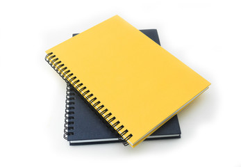 Open blank note book on white