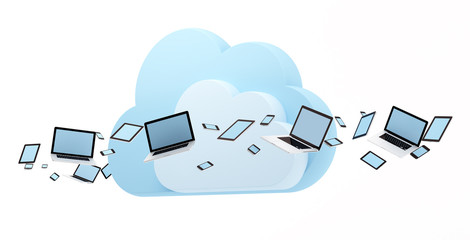 Computer, tablet pc and smart phones flow around cloud shape