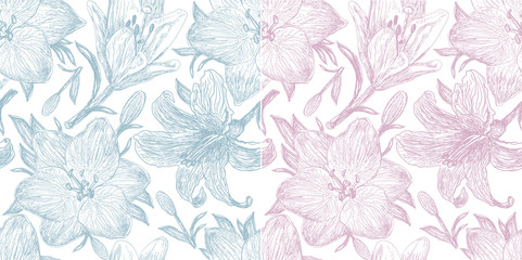 Set of two beautiful pattern with  lilies