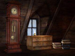 Obraz Stare poddasze z zegarem, szafką i książkami - fototapety do salonu