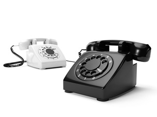 3ä illustration: Two phones the black and white are connected a