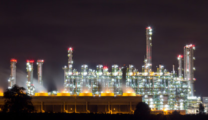 Petrochemical plant in the night, Thailand
