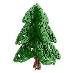 Wall Murals Pixel pixelized The Christmas fir tree isolated on white background