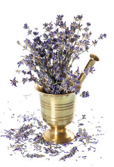 vintage mortar with dry lavender flowers