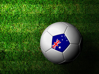 Australia Flag Pattern 3d rendering of a soccer ball in green gr