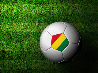 Bolivia Flag Pattern 3d rendering of a soccer ball in green gras