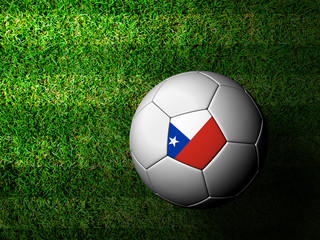 Chile Flag Pattern 3d rendering of a soccer ball in green grass