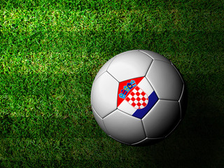 Croatia Flag Pattern 3d rendering of a soccer ball in green gras