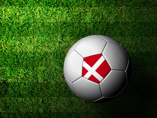 Denmark Flag Pattern 3d rendering of a soccer ball in green gras