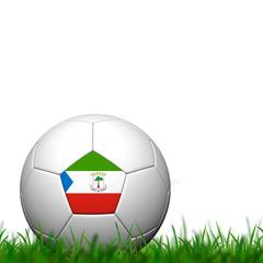 3D Soccer balll Equatorial Guinea Flag Patter on green grass ove