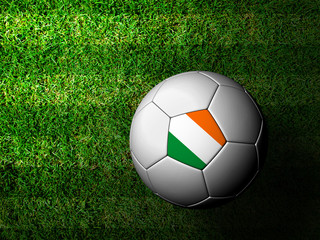 Ireland Flag Pattern 3d rendering of a soccer ball in green gras