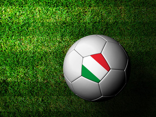 Italy Flag Pattern 3d rendering of a soccer ball in green grass