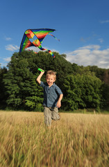 Happy playing boy with kite