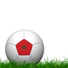 3D Soccer balll Morocco Flag Patter on green grass over white ba