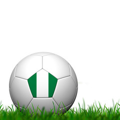 3D Soccer balll Nigeria Flag Patter on green grass over white ba