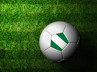 Nigeria Flag Pattern 3d rendering of a soccer ball in green gras