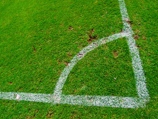 Green soccer field , Corner Kick from top view