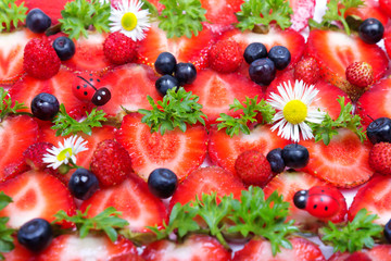 strawberries, blueberries and camomile flowers textural backgrou