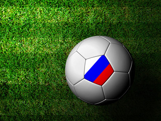 Russia Flag Pattern 3d rendering of a soccer ball in green grass