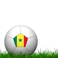 3D Soccer balll Senegal Flag Patter on green grass over white ba