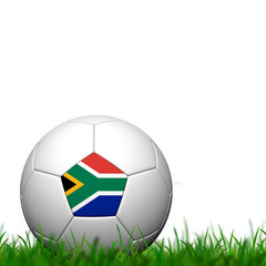 3D Soccer balll South Africa Flag Patter on green grass over whi