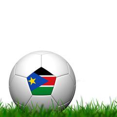 3D Soccer balll Sudan Flag Patter on green grass over white back
