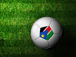 Sudan Flag Pattern 3d rendering of a soccer ball in green grass