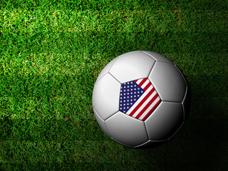 The United States  Flag Pattern 3d rendering of a soccer ball in