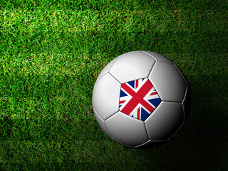 United Kingdom Flag Pattern 3d rendering of a soccer ball in gre