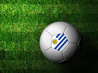 Uruguay Flag Pattern 3d rendering of a soccer ball in green gras