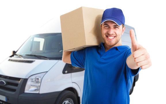 Happy deliverer portrait