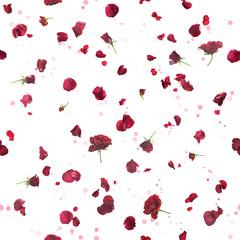 Seamless dark roses and bokeh