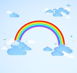 Photo sur Aluminium Ciel Sky background with rainbow. Vector
