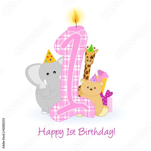 Happy First Birthday Buon Primo Compleanno Stock Image And