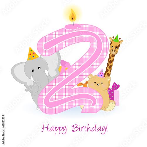 "Favoloso happy second birthday - buon compleanno - 2 anni"" Stock image and  WB01"