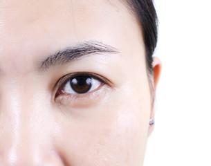 Close up woman eye.