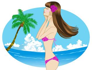 Tropical Resort-Woman wearing a bikini