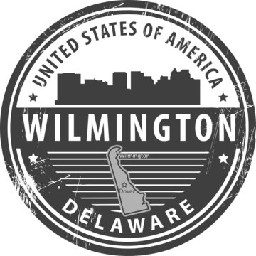Grunge rubber stamp with name of Delaware, Wilmington, vector