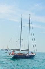 Sailing boat sails to Europe in Bosporus