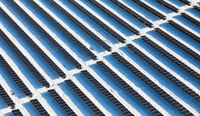 Top view on large solar panels