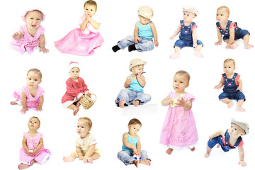 child collection of children on a white background