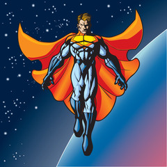 Fotobehang Superheroes hero floating