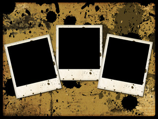 three photo frames on grunge