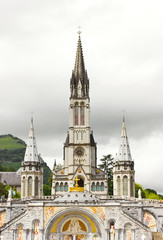 center of pilgrimage to famous cathedral in Lourdes, France.