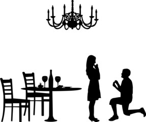 Romantic proposal in a restaurant of a man proposing to a woman