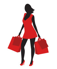 silhouette of a girl in a red dress with shopping
