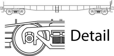Vector high detailed flat car railway wagon - side view