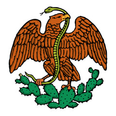 color eagle and snake from mexican flag