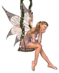 Foto op Aluminium Feeën en elfen Pretty Pink Fairy Daydreaming on a Swing