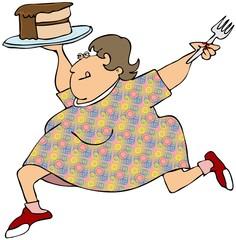 Woman dancing with chocolate cake